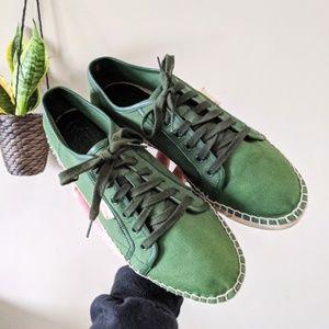 GUCCI Green Canvas Espadrille Sneaker Size 8